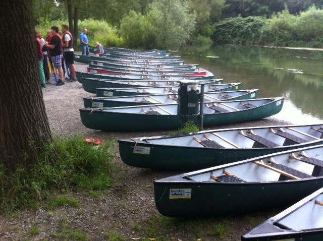 Canoes on a river bank in Britain