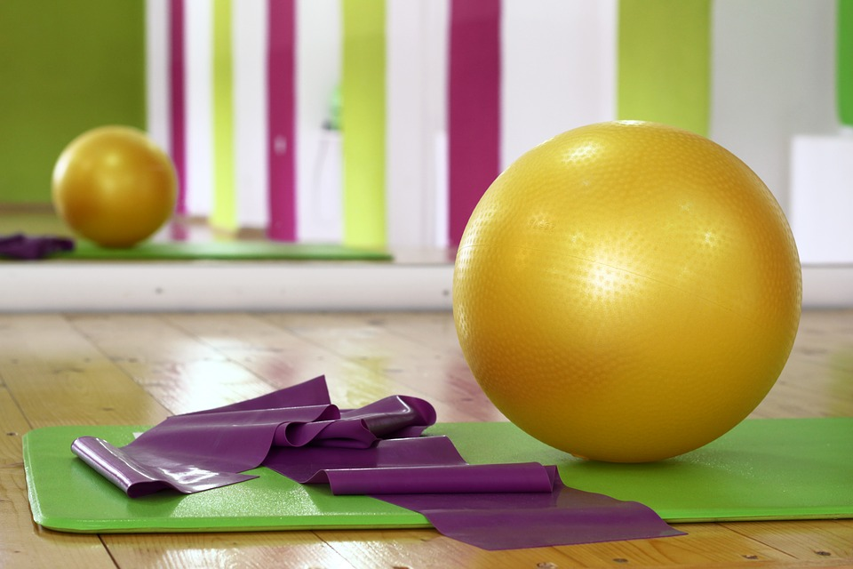 Exercise and workout equipment at a gym