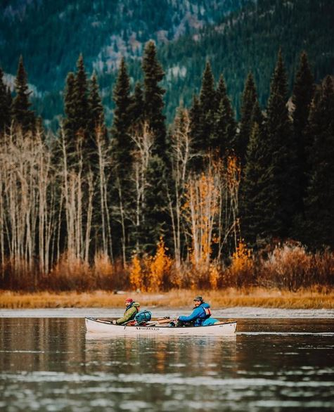 Two people in a canoe in the Yukon